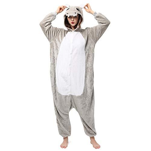 Katara 1744 (30+ Designs) Nilpferd-Kostüm Hippo, Unisex Onesie/ Pyjama-Qualität für Erwachsene & Teenager