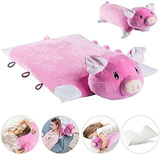 Latex Throw Pillow, Kids Pillow, Neck Roll Pillow, Multifunctional Cartoon Pig Latex Memory Foam Travel Pillow with Organic Cotton