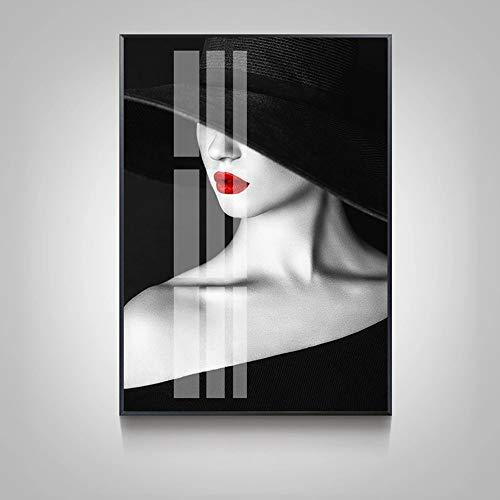 LCSD Murales de pared para decoración de pared, diseño moderno y minimalista, decoración de pared, diseño de chica misteriosa, versión B, 40 x 60 cm