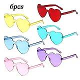 MEJOSER 6 Pack Partybrille Neon Farben Herzform Brille Herzen Sonnenbrille für Hochzeit...