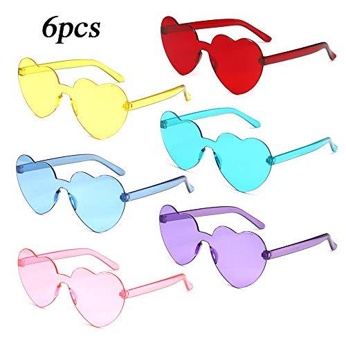 MEJOSER 6 Pack Partybrille Neon Farben Herzform Brille Herzen Sonnenbrille für Hochzeit JunggesellinnenabschiedFoto Requisiten Kostüm Party Club Tanz Props (ohne Rahmen)