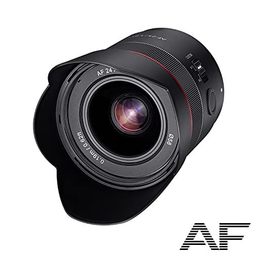 SAMYANG 23071 AF 24mm F1,8 FE für Sony E-Mount Vollformat, APS-C I ultraleichtes Weitwinkel-Objektiv mit 83,7° Bildwinkel, schnellem Autofokus I Festbrennweite für Sony Alpha A7C, A7 III, A6400, A6100