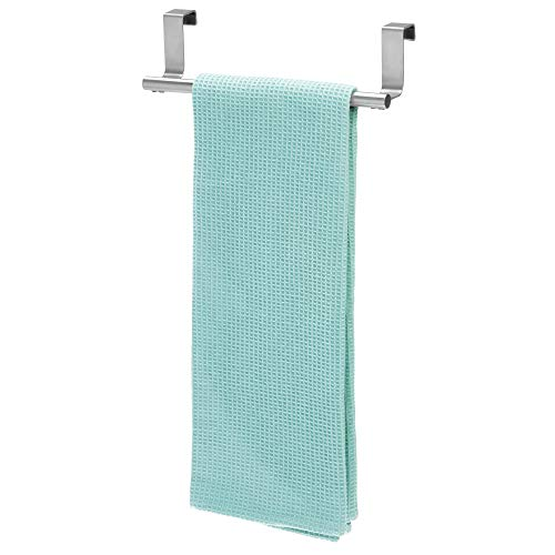 "iDesign Forma Metal Over the Cabinet Towel Bar, Hand Towel and Washcloth Rack for Bathroom and Kitchen , 9.25"" x 2.5"" x 2.5"", Stainless Steel"