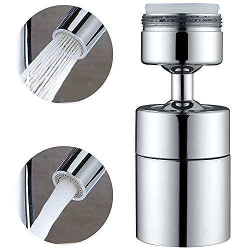 Aireador de grifo de fregadero – Accesorio giratorio de 360 grados para grifo de cocina, grifo de ahorro de agua de doble función..