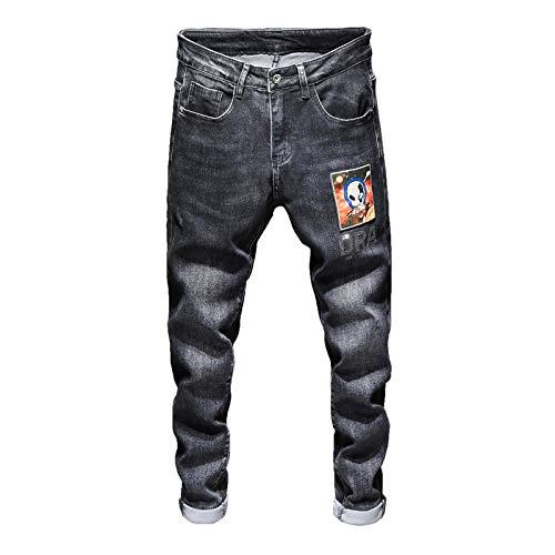 ShFhhwrl Vaqueros de Moda clásica Mens Jeans Black Skinny Autumn Stretch Glitter Stone Patchwork Hip Hop Brand Hombres Jeans Pant