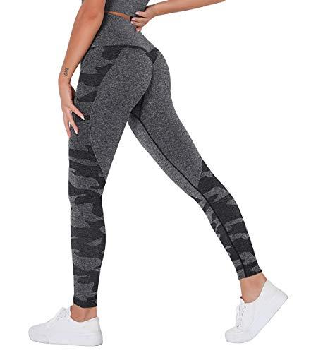 SLIMBELLE Sporthose Damen Leggings Hohe Taille Camouflage Yoga Hose Gym Leggins Sexy Push Up Fitnesshose Lange Blickdicht Streetwear Slim Fit Laufhose Jogginghose