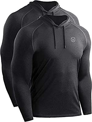 Neleus Men's 2 Pack Dry Fit Running Shirt Long Sleeve Workout Athletic Shirts with Hoods,5071 Dark Grey,Dark Grey,US XL,EU 2XL