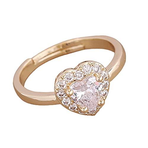Aoten Anillo de metal con forma de corazón y diamantes de color natural, elegante y hermoso.
