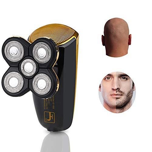 Testa Calva Tagliacapelli & Rasoio Elettrico Barba Uomo 2in1 Rasoio Barba a 5 Testine Rotanti per Rasatura Regolabarba