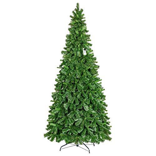 FairyTrees Albero di Natale, Pino Tirolese Artificiale, PVC, Supporto in Metallo, 250cm, FT22-250