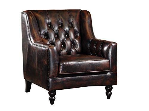 Woodkings® Chesterfield Stafford Sessel braun Echtleder Bürosessel Polstermöbel antik Designsessel Federkern unikat Herrenzimmer englisches Leder Stilsessel
