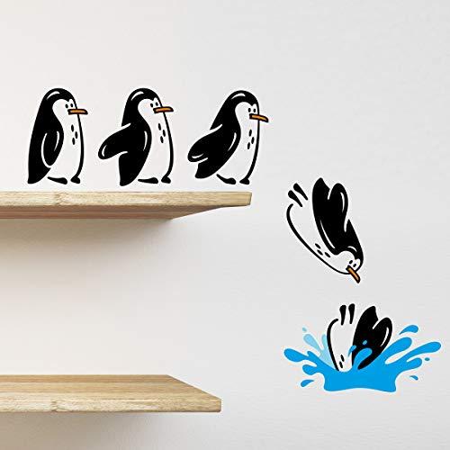 wall4stickers Pingüinos Nevera Estante Pegatina Saltando Divertido Vinilo Etiqueta de la Pared decoración calcomanía Mural Kittchen sofá de la Sala de Estar Mascotas