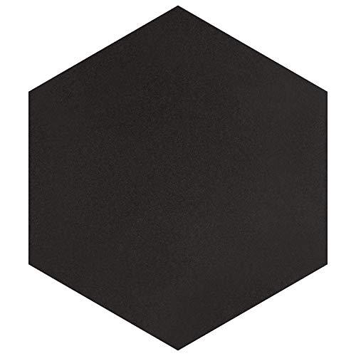 SomerTile, Black FCD10BTX Abrique Hex Porcelain Floor and Wall Tile, 8.625