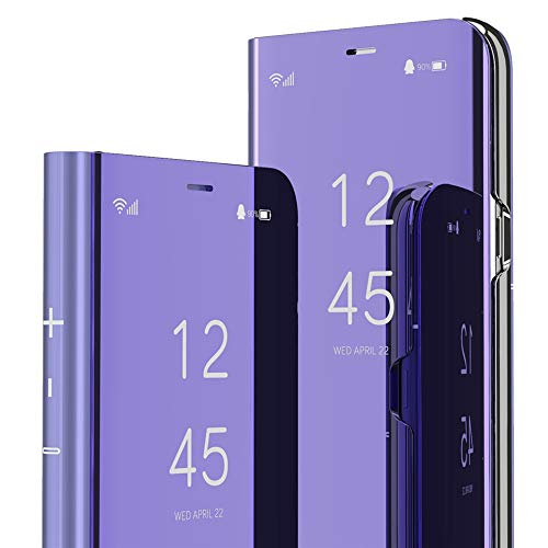 ISADERSER Mate 9 Case Huawei Mate 9 Case Design View Flip Electroplate Plating Mirror Makeup Glitter Slim Shockproof Full Body Protective Case Cover for Huawei Mate 9 Case Mirror Purple