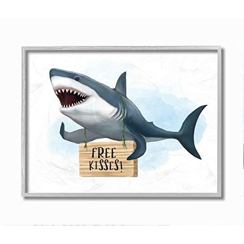 Stupell Industries Schild für Kinder, nautischer Hai-Freie Küsse, Design von Ziwei Li Wall Art, 40,6 x 50,8 cm, grauer Rahmen