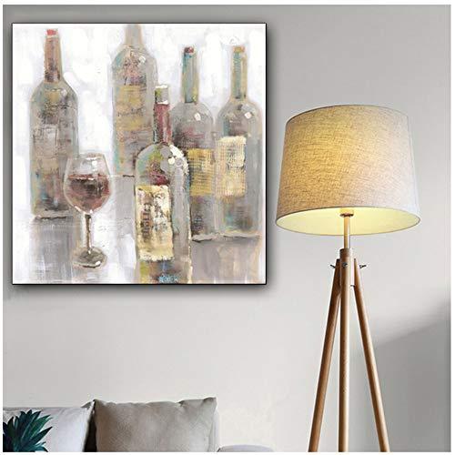 NIESHUIJING Druck auf Leinwand Impressionismus Rotweinflasche und Becher Kunst Gemälde Digital Mit Wohnzimmer Wanddekoration Wohnkultur 19,6'x 19,6' (50x50cm) Kein Rahmen
