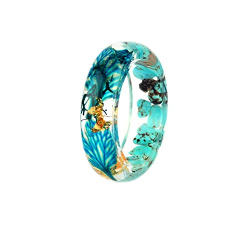 N-A Handmade Forest Dried Flowers Gold Foil Inside Resin Rings for Women Jewelry Engagement Wedding Finger Rings Party Gift