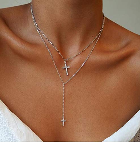 Jovono Multistrato Y-Collane Collana pendente a croce Collana di gioielli per donne e ragazze (argento)