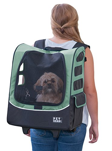 Pet Gear I-GO2 Roller Backpack, Travel Carrier, Car Seat for Cats/Dogs, Mesh Ventilation, Included...