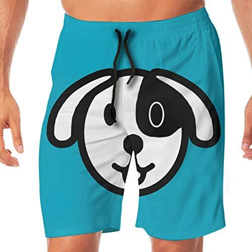 Cartoon Hond Icon Snelle Droge Elastische Kant Boardshorts Beach Shorts Broek Zwembroek Trunks Badpak met Zakken.