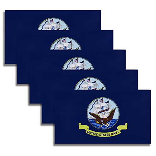 WXTWK 5 Pack American USA Navy Flag Decal - United States Military Flags Reflective Vinyl Car Stickers - Support US Military Events (2.5 x 4.5 Inch)