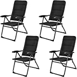 Giantex Set of 4 Patio Chairs, Folding Chairs with Adjustable Backrest, Outdoor Sling Chairs for Bistro, Deck, Backyard, Armchair with Padded Seat, 300 lbs Capacity (4, Black)