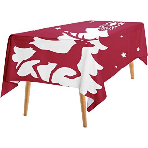 Plantilla de corte láser, diseño de ciervo de Navidad, tarjeta de corte láser, Feliz Navidad y Feliz Año Nuevo, elegante, decoración de reno, recorte de papel adecuado para corte láser resistente al aceite, mantel de 127 x 203 cm al aire libre