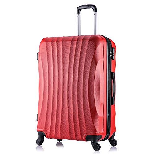 WOLTU RK4213rt-XL, Reise Koffer Trolley Hartschale 4 Rollen Volumen erweiterbar Reisekoffer Hartschalenkoffer Handgepäck groß M/L/XL/Set leicht & günstig Rot...