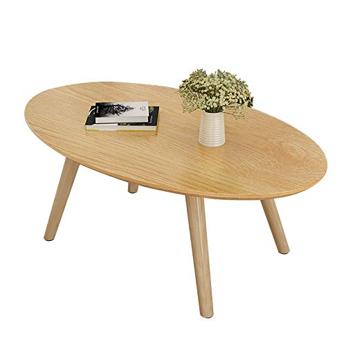 ZWJLIZI Coffee Table, Nordic Solid Wood Table Leg Oval Low Table (H45cm), Bedroom Leisure Table/Study Table, Small Apartment Sofa Side Table (Size : 80x50x45cm)