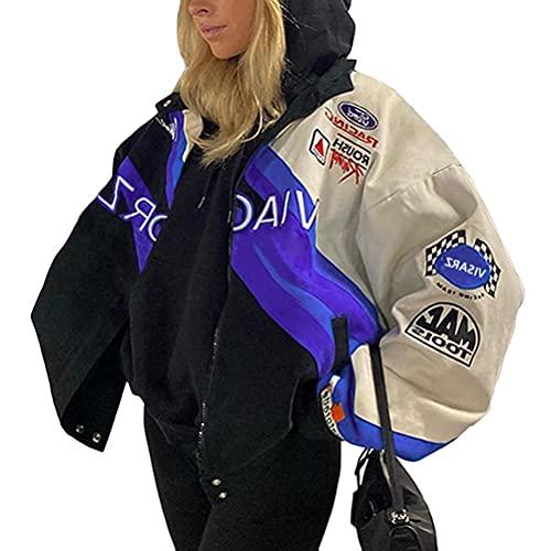 ORANDESIGNE Chaqueta de Bombardero para Mujer Chaqueta de Chándal College Cremallera Oversized Patchwork Chaquetas de Impresión Vintage Abrigo de Béisbol Sweat Jacket C Azul XL