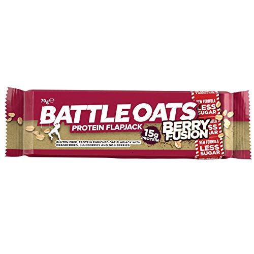 24 PACK Battle Oats Berry Fusion Protein Flapjack Bars 70g Gluten Free
