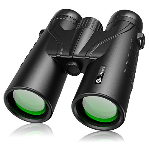 12 x 50 Binoculars for Adults, slopehill Powerful Waterproof Bird Watching Binoculars with BAK4 Lens, Low Light Night Vision Large Eyepiece Binoculars for Hunting, Sports and Concerts (Black)