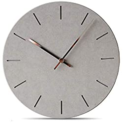 Stephanie Imports Modern Minimalist Concrete Hiding Gray Silent Wall Clock
