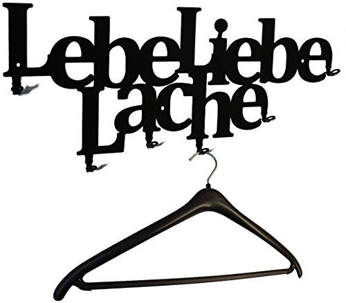 "Wandgarderobe, Flurgarderobe "" Lebe Liebe Lache - Live Love Laugh "" 58 cm, 6 Haken Metall (schwarz) Hakenleiste, Garderobenleiste, Garderobenhalter, Kleiderhaken, Garderobe"