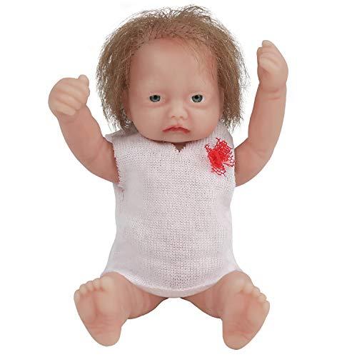 Vollence 11.5 cm Mini Voll Silikon Babypuppen mit Haaren, Realistische Taschenpuppe - MäDchen