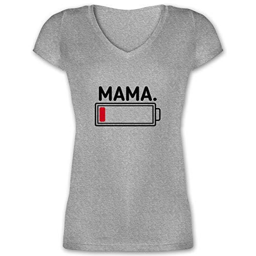 Partner-Look Familie Mama - Mama Leere Batterie - S - Grau meliert - Kurzarm - XO1525 - Damen T-Shirt mit V-Ausschnitt