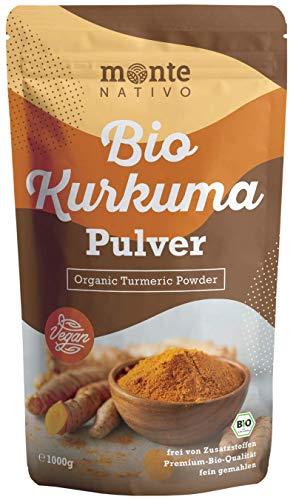 Bio Kurkuma Pulver von MonteNativo – 1000 g/1Kg gemahlen | 3 % Curcumingehalt | Bio Curcuma aus Indien - geprüfte Qualität, abgefüllt in Deutschland