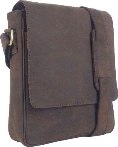 UNICORN Vera Pelle ipad, Ebook o Tablets Borsa Marrone Messenger Bag #6F