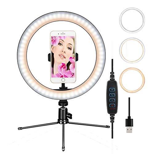 """Iluminador de Led Circular 10"""" Ring Fill Light Live USB Bilvot com Tripé e Suporte de Celular"""