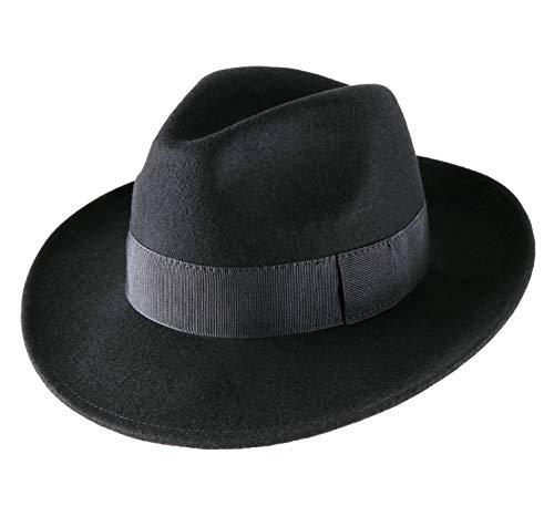 Classic Italy - Chapeau Fedora Pliable imperméable Feutre - 15 Coloris - Homme ou Femme Fedora - Taille 58 cm - Noir