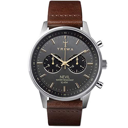 Triwa Unisex Erwachsene Chronograph Quarz Uhr mit Leder Armband NEST114-CL010412