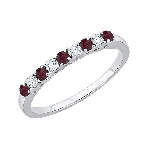 KATARINA Alianza de boda con diamantes y rubí alternos en plata de ley (3/8 quilates, J-K, SI2-I1)