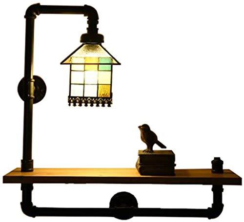 IJzeren pijp glas in lood wandlamp, creatieve retro industriële stijl wind studie bar planken lampen