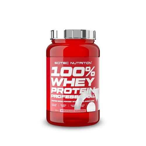 Scitec Nutrition 100% Whey Protein Professional con aminoácidos clave y enzimas digestivas adicionales, sin gluten, 920 g, Fresa
