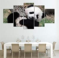 キャンバスペインティングぶら下がっている写真 モジュラー写真HDプリントキッズルーム5つの小品クリエイティブホームデコレーションパンダアニマルウォールアートのためのギフトのアートワークポスター絵画 (Color : YX1751, Size (Inch) : Size1)