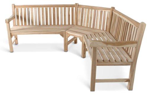 SAM Gartenbank, Eckbank, Sitzbank aus Teak-Holz 210 x 210 cm, Massivholz, für 6 Personen, für Balkon, Terrasse oder Garten