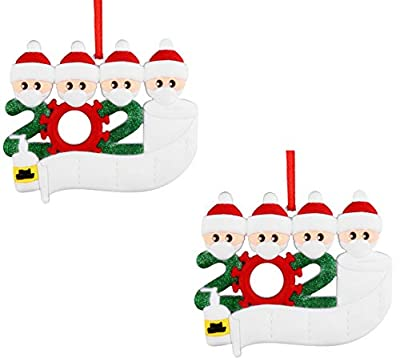 YAJONUE Christmas Ornament Quarantine Personalized 2020 Christmas Pendant Kit Customized Survived Family Name Hanging Ornament Decor Set for Christmas Tree Party Creative Friends Gift,2 Packs