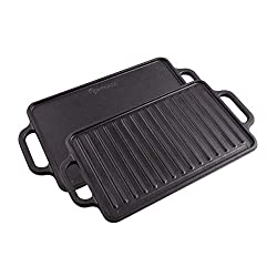 Victoria GDL-189 Rectangular Cast Iron Double Burner, Reversible Griddle Grill Seasoned with 100% Kosher Certified Non-GMO Flaxseed Oil, 13 x 8,3 Inch, Black