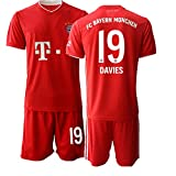 JEEG 20/21 Kinder Davies 19# Fußball Trikot Jugend Trainings Anzug T-Shirt Set (Kinder Größe 4-13 Jahre) (26)