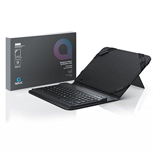CSL - Bluetooth Slim Tastatur für Tablets 9-10 Zoll - für Apple iPad 2 3 4 UVM. inkl. Kunstledercase - Wireless Keyboard im Slim Design - QWERTZ Layout Deutsch